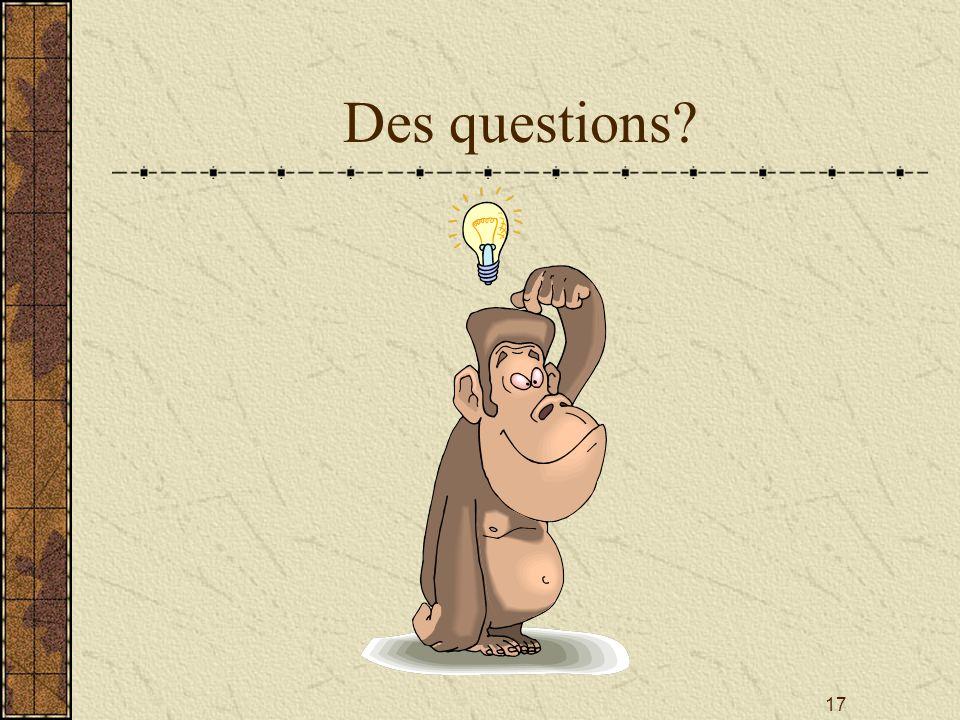 17 Des questions?