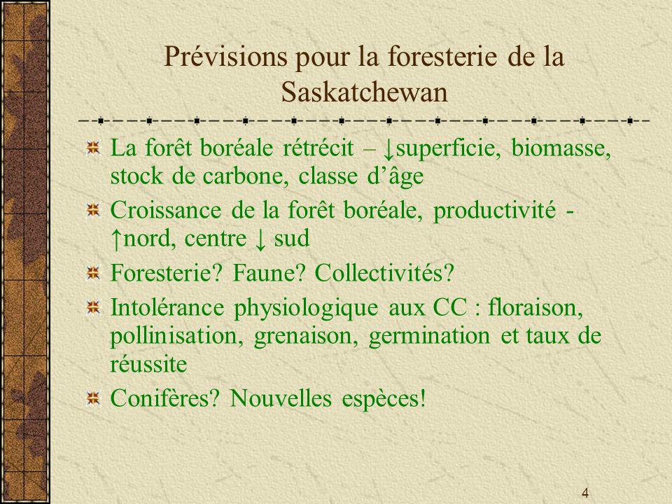 4 Prévisions pour la foresterie de la Saskatchewan La forêt boréale rétrécit – superficie, biomasse, stock de carbone, classe dâge Croissance de la forêt boréale, productivité - nord, centre sud Foresterie.