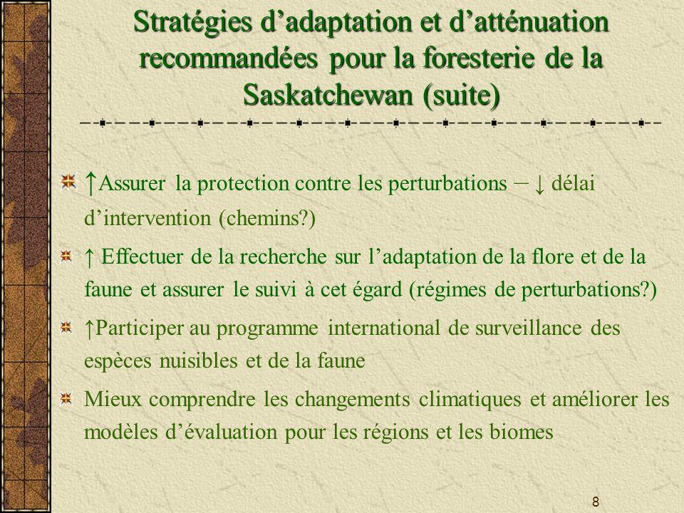 8 Stratégies dadaptation et datténuation recommandées pour la foresterie de la Saskatchewan (suite) Assurer la protection contre les perturbations – délai dintervention (chemins?) Effectuer de la recherche sur ladaptation de la flore et de la faune et assurer le suivi à cet égard (régimes de perturbations?) Participer au programme international de surveillance des espèces nuisibles et de la faune Mieux comprendre les changements climatiques et améliorer les modèles dévaluation pour les régions et les biomes