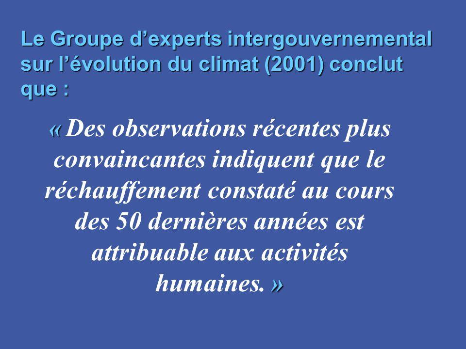 « « Des observations récentes plus convaincantes indiquent que le » réchauffement constaté au cours des 50 dernières années est attribuable aux activi