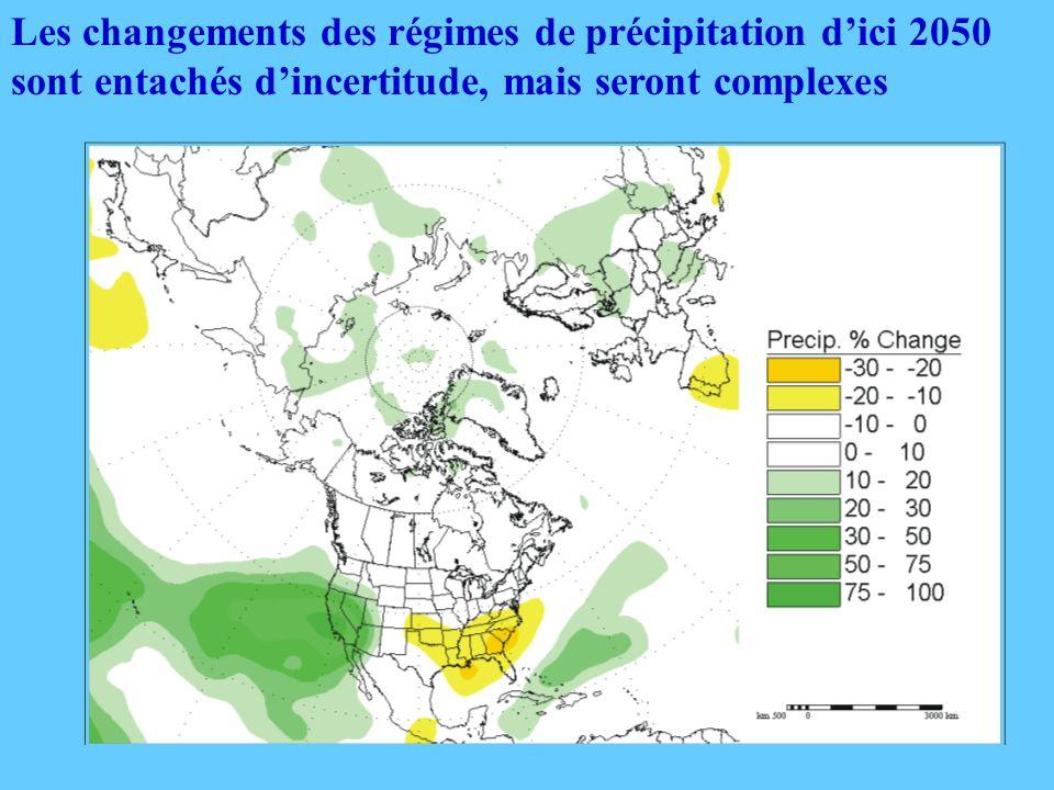 Les changements des régimes de précipitation dici 2050 sont entachés dincertitude, mais seront complexes