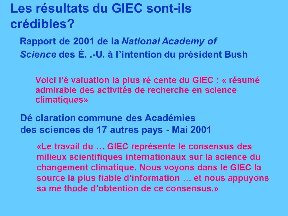 Les résultats du GIEC sont-ils crédibles? Voici lé valuation la plus ré cente du GIEC : « résumé admirable des activités de recherche en science clima