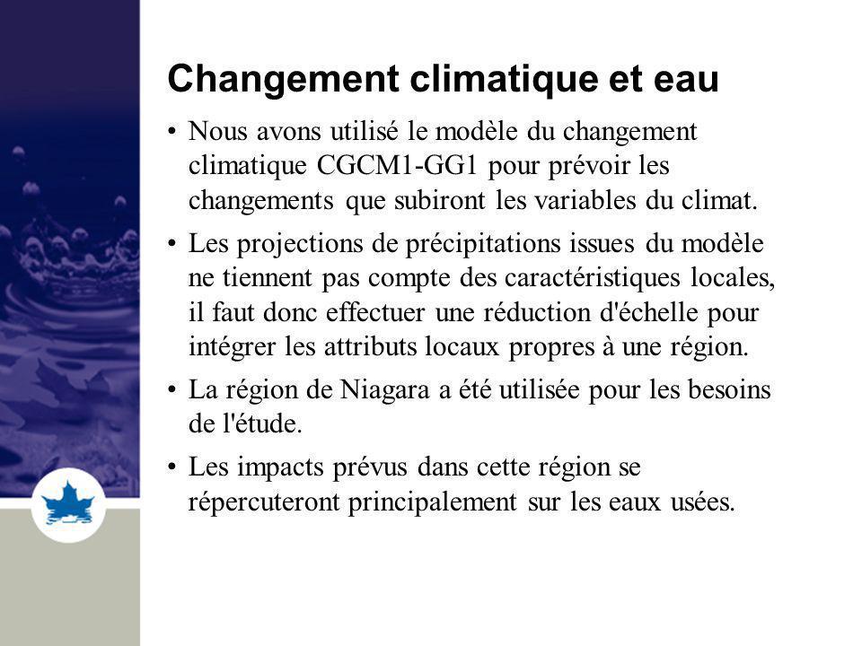 Changement climatique et eau Nous avons utilisé le modèle du changement climatique CGCM1-GG1 pour prévoir les changements que subiront les variables d
