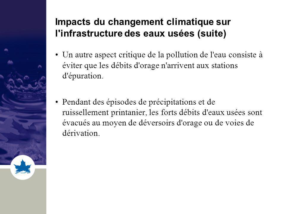 Impacts du changement climatique sur l infrastructure des eaux usées (suite) Un autre aspect critique de la pollution de l eau consiste à éviter que les débits d orage n arrivent aux stations d épuration.