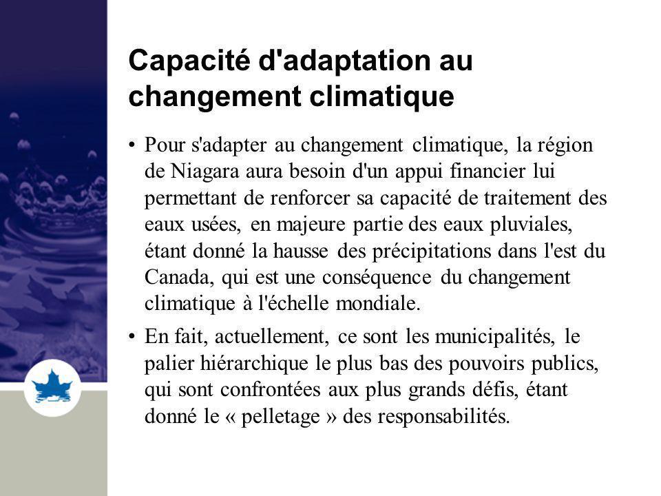 Capacité d adaptation au changement climatique Pour s adapter au changement climatique, la région de Niagara aura besoin d un appui financier lui permettant de renforcer sa capacité de traitement des eaux usées, en majeure partie des eaux pluviales, étant donné la hausse des précipitations dans l est du Canada, qui est une conséquence du changement climatique à l échelle mondiale.