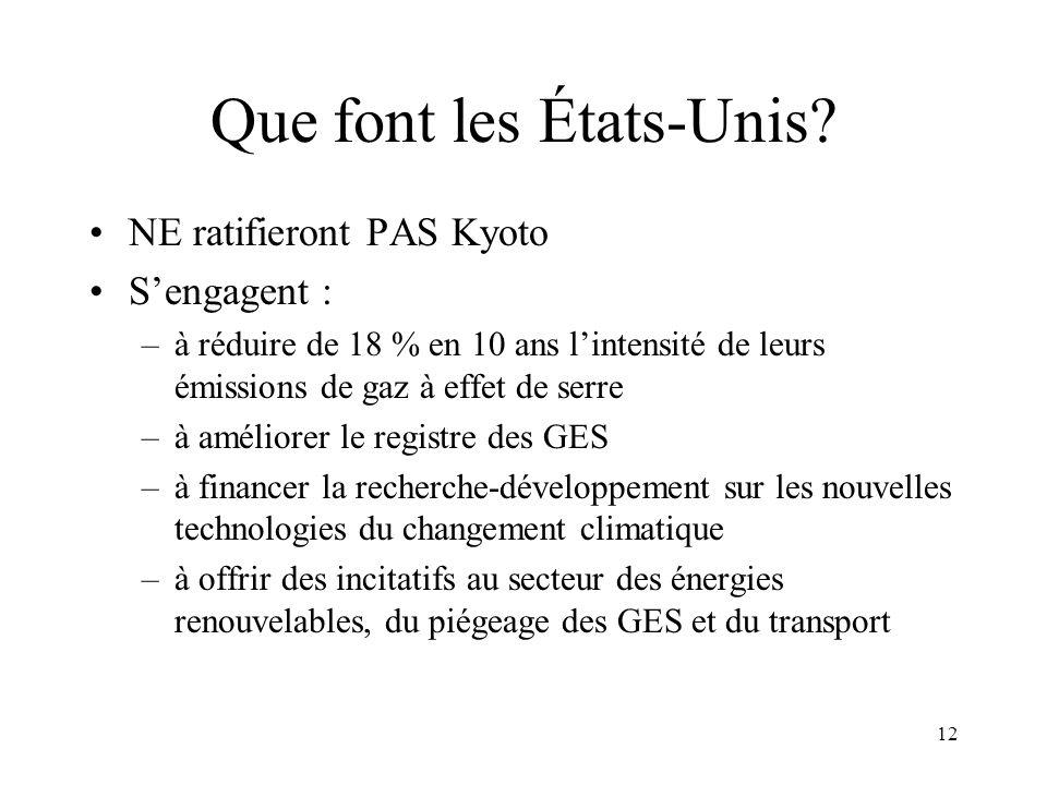 12 Que font les États-Unis? NE ratifieront PAS Kyoto Sengagent : –à réduire de 18 % en 10 ans lintensité de leurs émissions de gaz à effet de serre –à