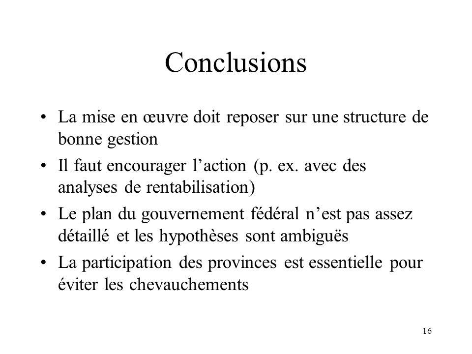 16 Conclusions La mise en œuvre doit reposer sur une structure de bonne gestion Il faut encourager laction (p. ex. avec des analyses de rentabilisatio