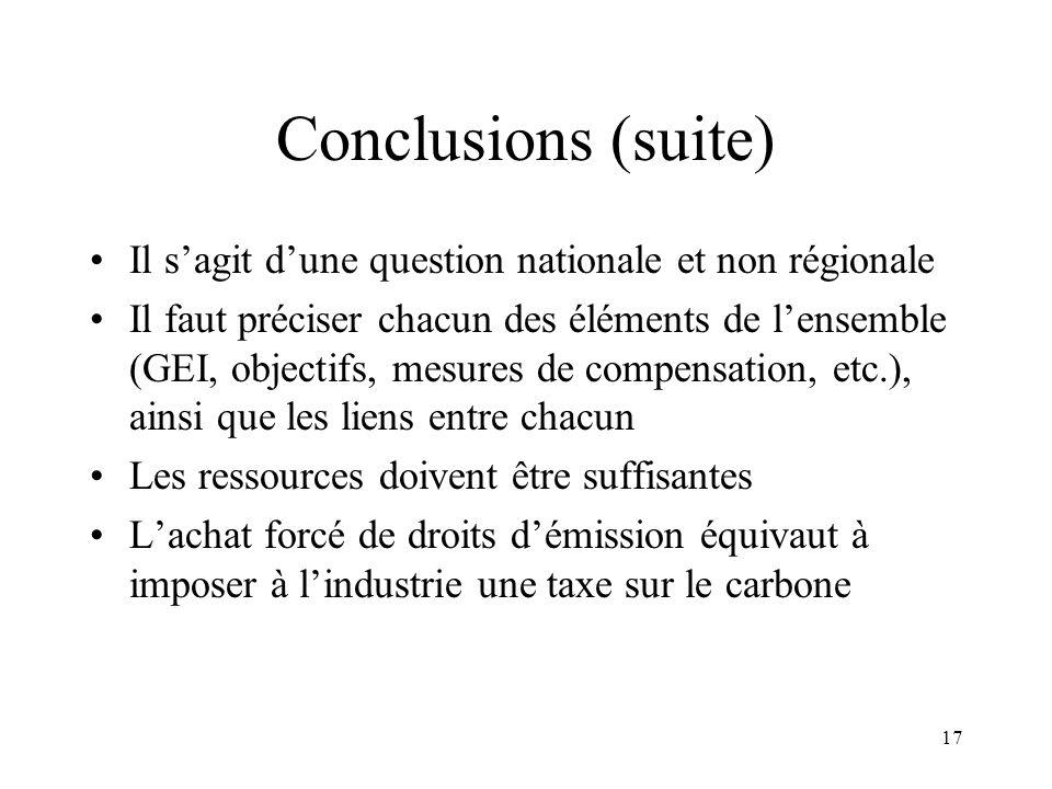 17 Conclusions (suite) Il sagit dune question nationale et non régionale Il faut préciser chacun des éléments de lensemble (GEI, objectifs, mesures de
