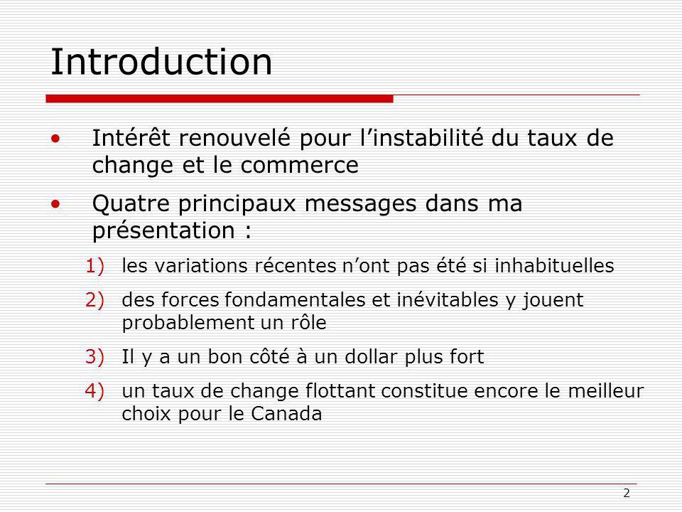 2 Introduction Intérêt renouvelé pour linstabilité du taux de change et le commerce Quatre principaux messages dans ma présentation : 1)les variations