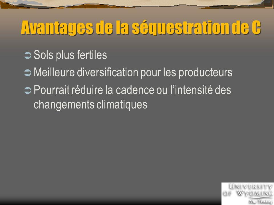 Avantages de la séquestration de C Sols plus fertiles Meilleure diversification pour les producteurs Pourrait réduire la cadence ou lintensité des changements climatiques