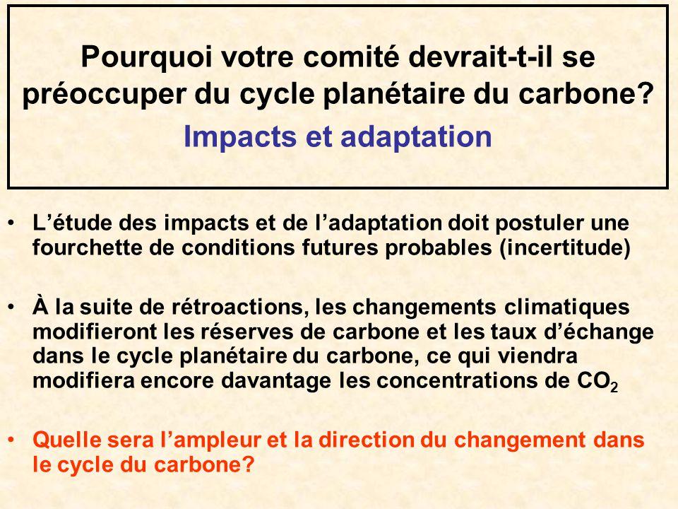 Pourquoi votre comité devrait-t-il se préoccuper du cycle planétaire du carbone? Impacts et adaptation Létude des impacts et de ladaptation doit postu