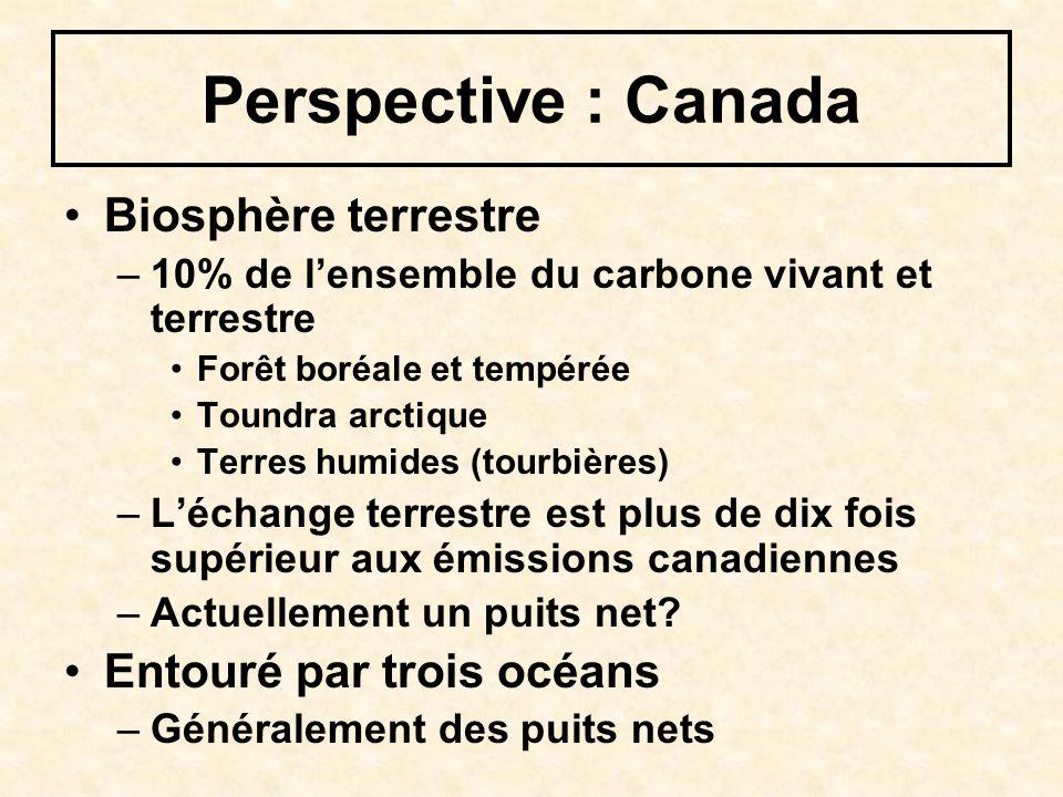 Perspective : Canada Biosphère terrestre –10% de lensemble du carbone vivant et terrestre Forêt boréale et tempérée Toundra arctique Terres humides (tourbières) –Léchange terrestre est plus de dix fois supérieur aux émissions canadiennes –Actuellement un puits net.
