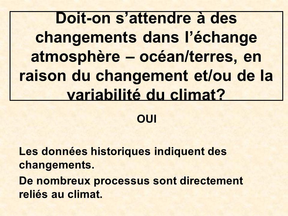 Doit-on sattendre à des changements dans léchange atmosphère – océan/terres, en raison du changement et/ou de la variabilité du climat? OUI Les donnée
