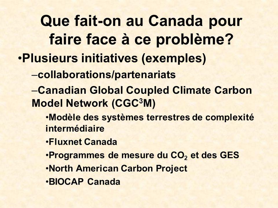 Que fait-on au Canada pour faire face à ce problème? Plusieurs initiatives (exemples) –collaborations/partenariats –Canadian Global Coupled Climate Ca