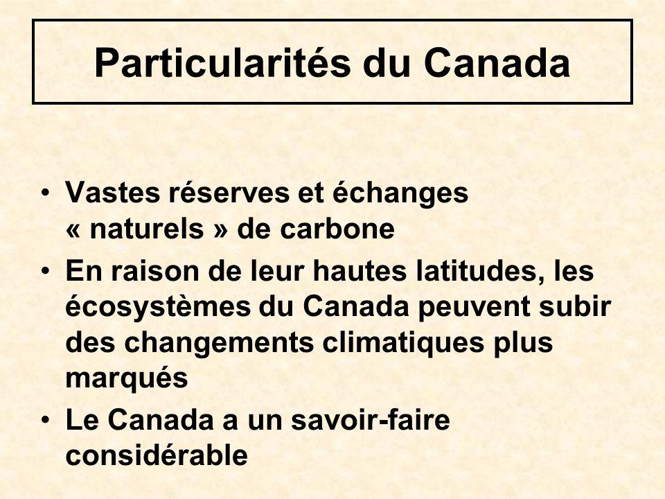 Particularités du Canada Vastes réserves et échanges « naturels » de carbone En raison de leur hautes latitudes, les écosystèmes du Canada peuvent sub