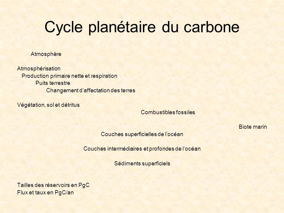 Cycle planétaire du carbone Atmosphère Atmosphérisation Production primaire nette et respiration Puits terrestre Changement daffectation des terres Vé
