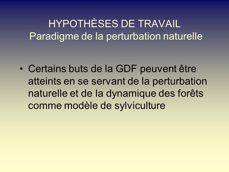HYPOTHÈSES DE TRAVAIL Paradigme de la perturbation naturelle Certains buts de la GDF peuvent être atteints en se servant de la perturbation naturelle et de la dynamique des forêts comme modèle de sylviculture