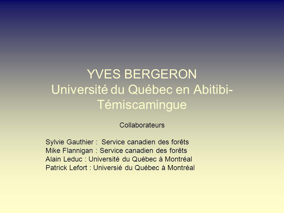 YVES BERGERON Université du Québec en Abitibi- Témiscamingue Collaborateurs Sylvie Gauthier : Service canadien des forêts Mike Flannigan : Service canadien des forêts Alain Leduc : Université du Québec à Montréal Patrick Lefort : Universié du Québec à Montréal