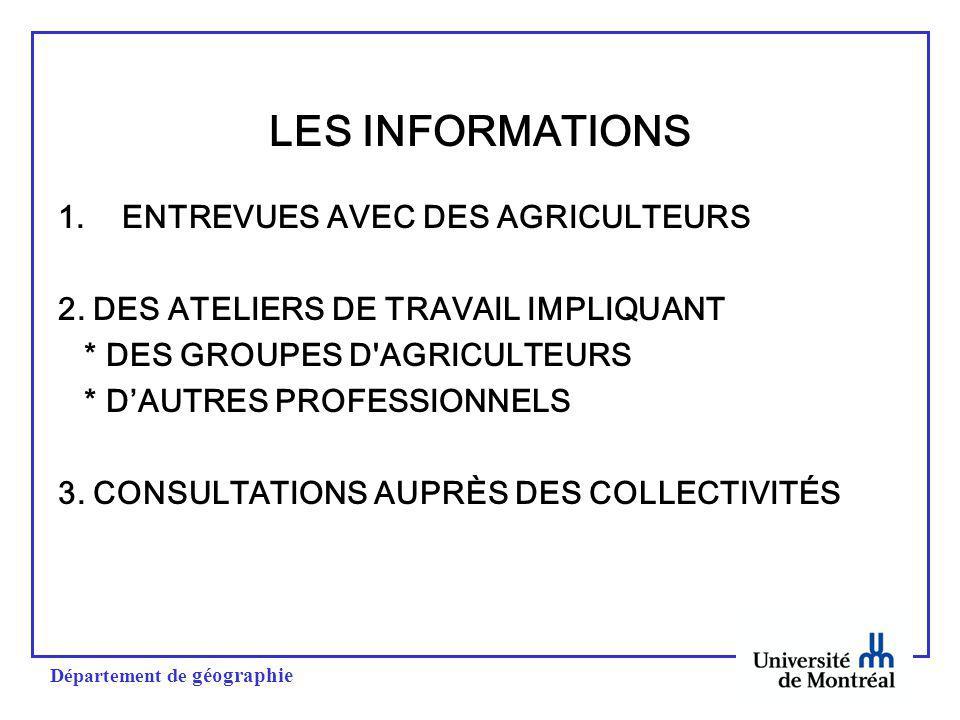 Département de géographie LES INFORMATIONS 1.ENTREVUES AVEC DES AGRICULTEURS 2.