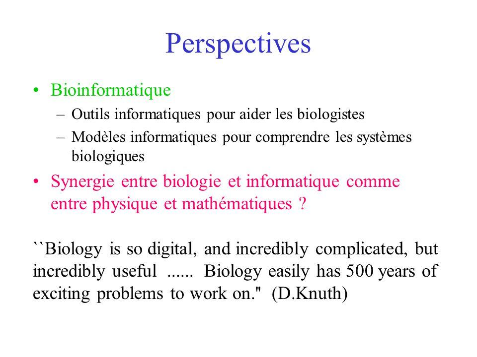 Perspectives Bioinformatique –Outils informatiques pour aider les biologistes –Modèles informatiques pour comprendre les systèmes biologiques Synergie