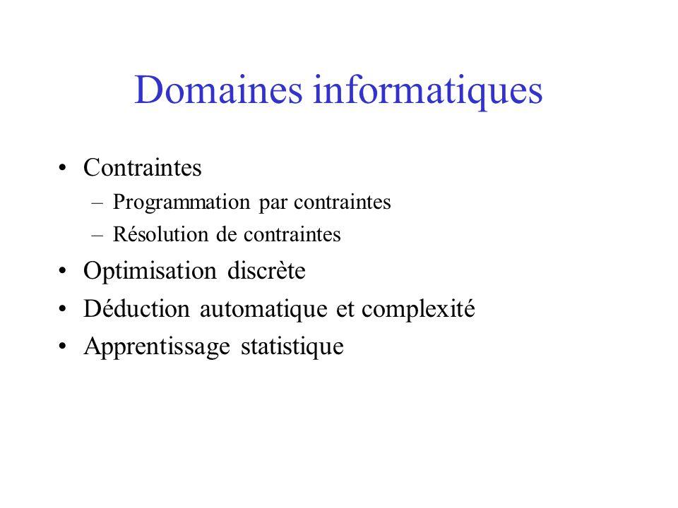 Domaines informatiques Contraintes –Programmation par contraintes –Résolution de contraintes Optimisation discrète Déduction automatique et complexité