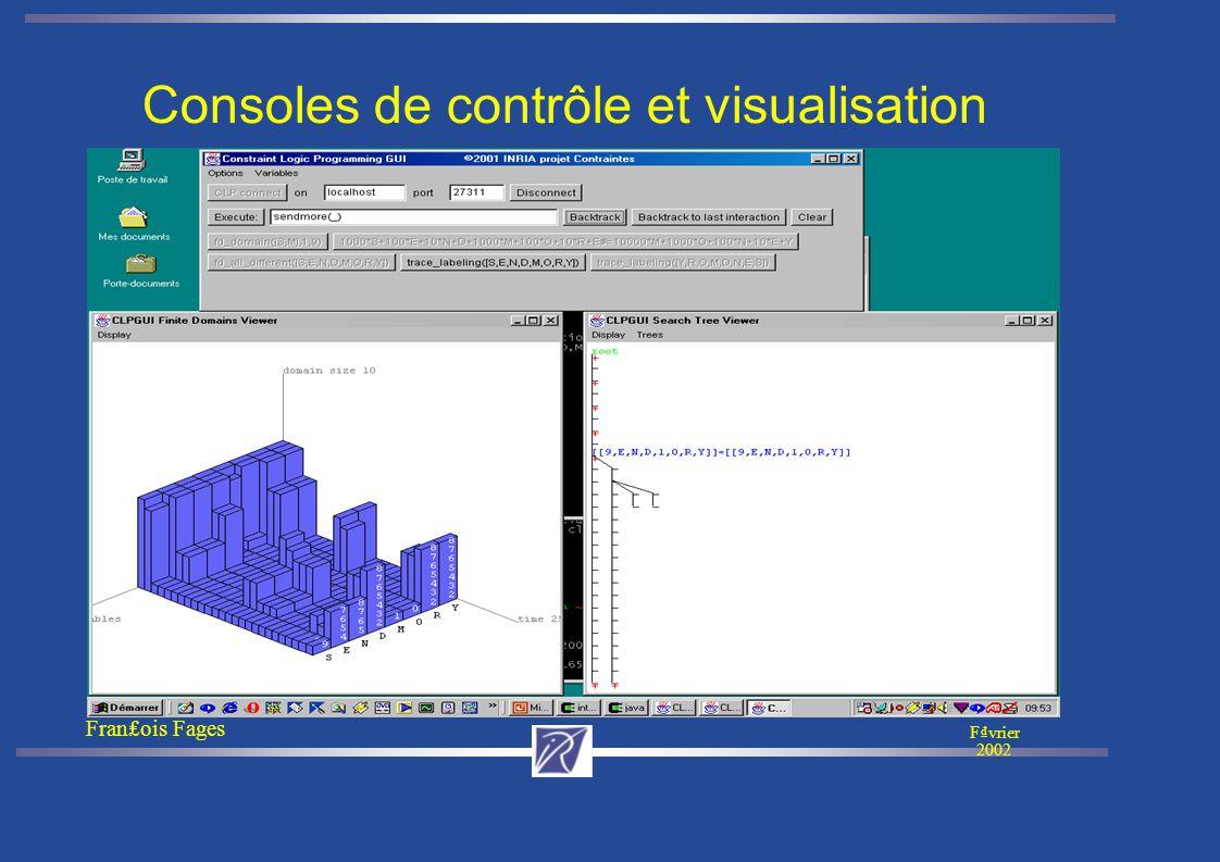Franois Fages Fvrier 2002 Consoles de contrôle et visualisation