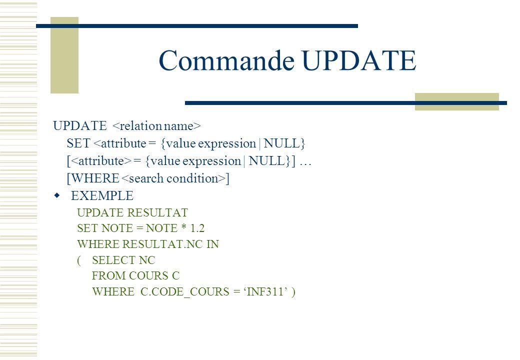 Commande UPDATE UPDATE SET <attribute = {value expression | NULL} [ = {value expression | NULL}] … [WHERE ] EXEMPLE UPDATE RESULTAT SET NOTE = NOTE *