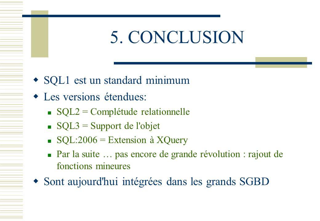5. CONCLUSION SQL1 est un standard minimum Les versions étendues: SQL2 = Complétude relationnelle SQL3 = Support de l'objet SQL:2006 = Extension à XQu