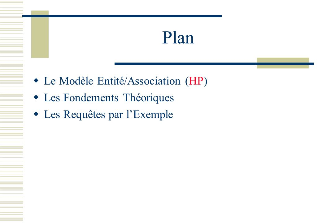 Plan Le Modèle Entité/Association (HP) Les Fondements Théoriques Les Requêtes par lExemple