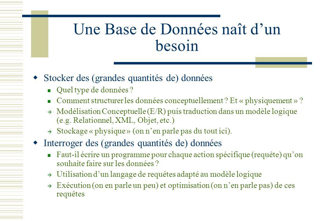 Une Base de Données naît dun besoin Stocker des (grandes quantités de) données Quel type de données ? Comment structurer les données conceptuellement
