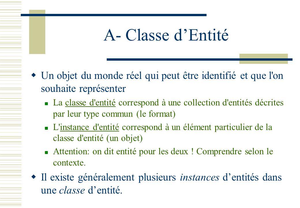 A- Classe dEntité Un objet du monde réel qui peut être identifié et que l'on souhaite représenter La classe d'entité correspond à une collection d'ent