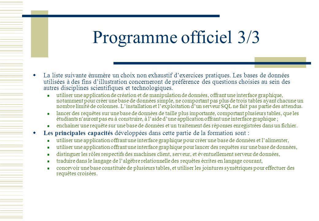 Programme officiel 3/3 La liste suivante énumère un choix non exhaustif dexercices pratiques. Les bases de données utilisées à des fins dillustration
