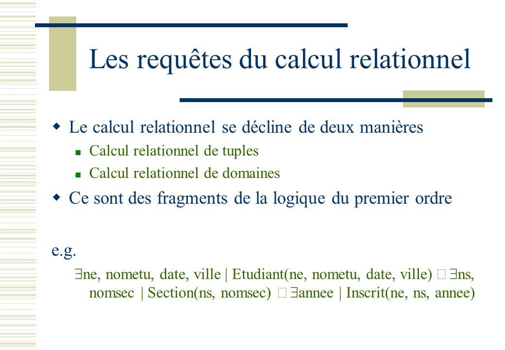 Les requêtes du calcul relationnel Le calcul relationnel se décline de deux manières Calcul relationnel de tuples Calcul relationnel de domaines Ce so
