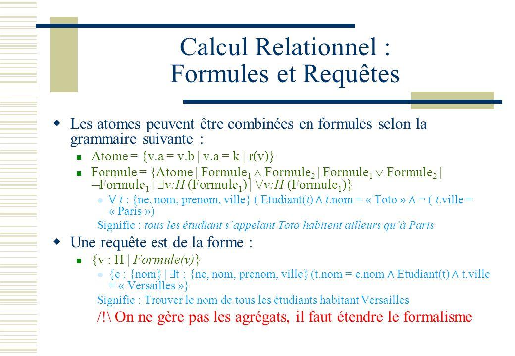 Calcul Relationnel : Formules et Requêtes Les atomes peuvent être combinées en formules selon la grammaire suivante : Atome = {v.a = v.b | v.a = k | r