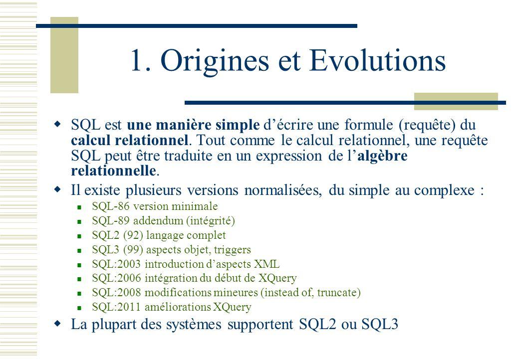 1. Origines et Evolutions SQL est une manière simple décrire une formule (requête) du calcul relationnel. Tout comme le calcul relationnel, une requêt