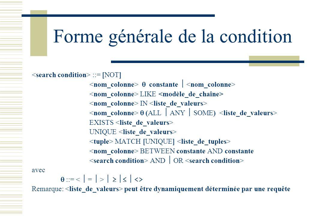 Forme générale de la condition ::= [NOT] constante LIKE IN (ALL ANY SOME) EXISTS UNIQUE MATCH [UNIQUE] BETWEEN constante AND constante AND OR avec ::=