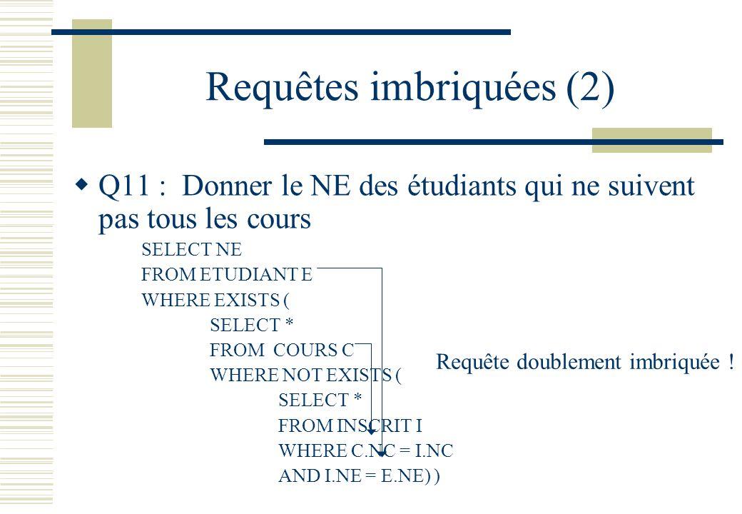 Requêtes imbriquées (2) Q11 : Donner le NE des étudiants qui ne suivent pas tous les cours SELECT NE FROM ETUDIANT E WHERE EXISTS ( SELECT * FROM COUR