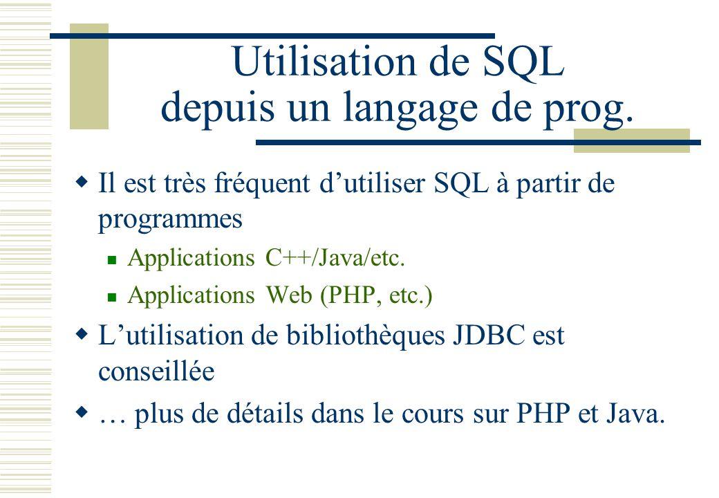 Utilisation de SQL depuis un langage de prog. Il est très fréquent dutiliser SQL à partir de programmes Applications C++/Java/etc. Applications Web (P