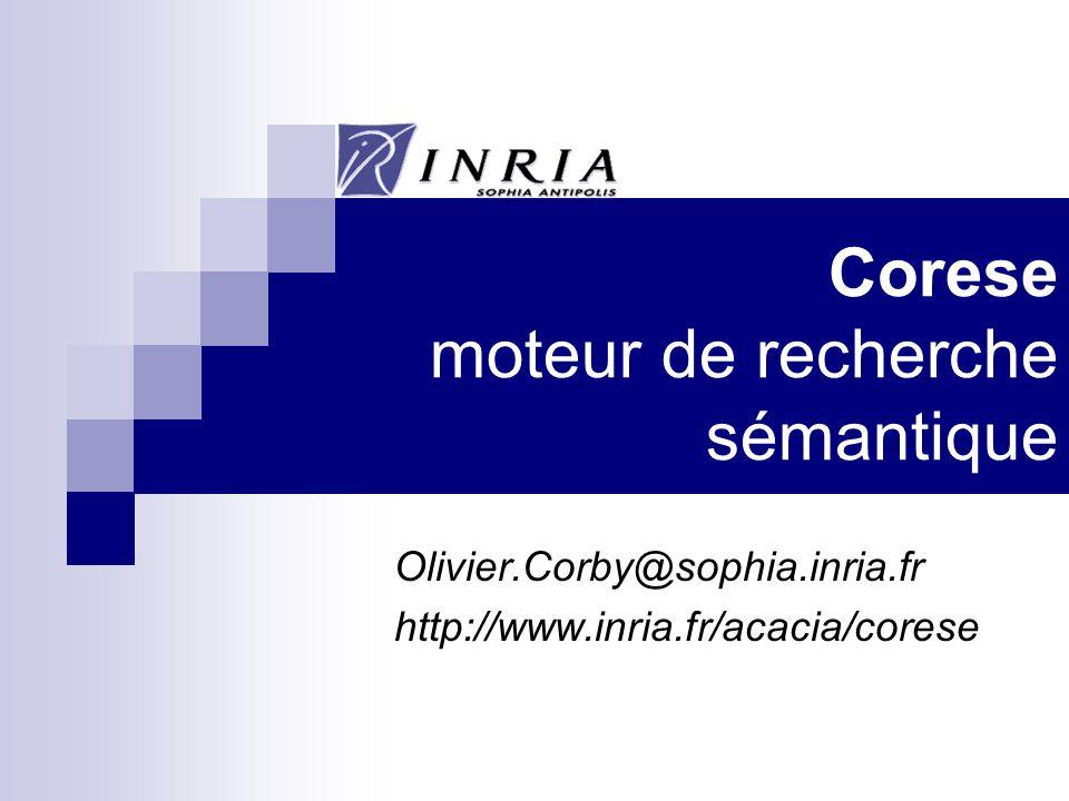 Corese moteur de recherche sémantique Olivier.Corby@sophia.inria.fr http://www.inria.fr/acacia/corese