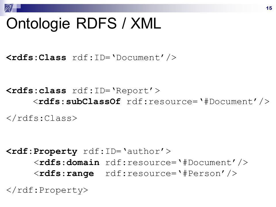 15 Ontologie RDFS / XML