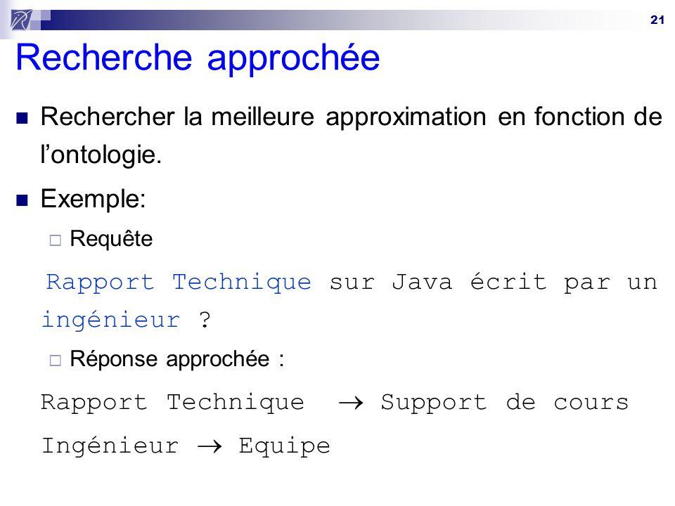 21 Recherche approchée Rechercher la meilleure approximation en fonction de lontologie. Exemple: Requête Rapport Technique sur Java écrit par un ingén