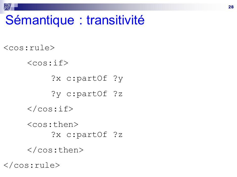 28 Sémantique : transitivité ?x c:partOf ?y ?y c:partOf ?z ?x c:partOf ?z