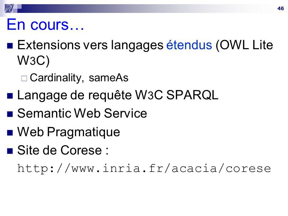 46 En cours… Extensions vers langages étendus (OWL Lite W 3 C) Cardinality, sameAs Langage de requête W 3 C SPARQL Semantic Web Service Web Pragmatiqu