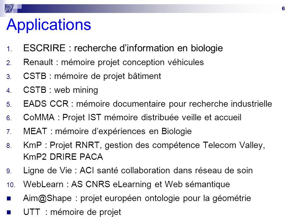 6 Applications 1. ESCRIRE : recherche dinformation en biologie 2. Renault : mémoire projet conception véhicules 3. CSTB : mémoire de projet bâtiment 4