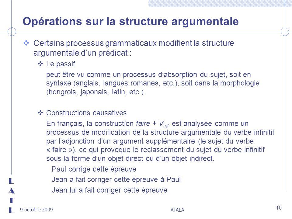 LATLLATL 9 octobre 2009 ATALA 10 Opérations sur la structure argumentale vCertains processus grammaticaux modifient la structure argumentale dun prédi