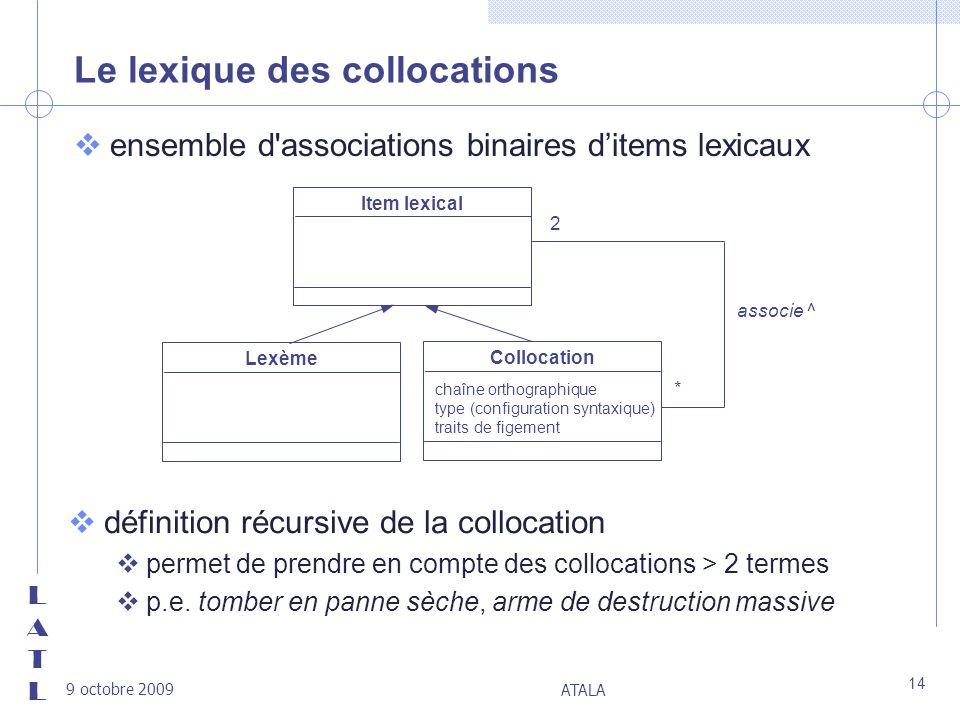 LATLLATL 9 octobre 2009 ATALA 14 Le lexique des collocations vensemble d'associations binaires ditems lexicaux Item lexical associe ^ 2 * Lexème Collo