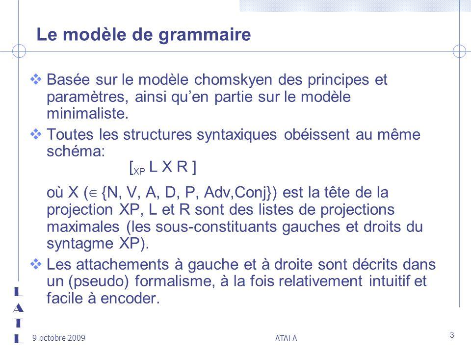 LATLLATL 9 octobre 2009 ATALA 3 Le modèle de grammaire vBasée sur le modèle chomskyen des principes et paramètres, ainsi quen partie sur le modèle min