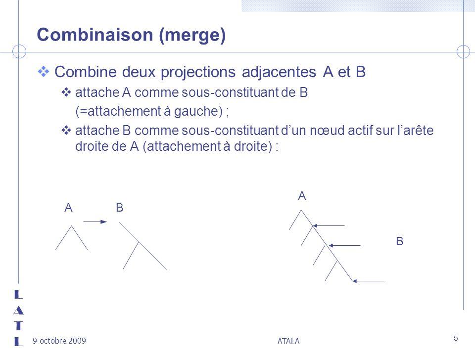 LATLLATL 9 octobre 2009 ATALA 5 Combinaison (merge) vCombine deux projections adjacentes A et B vattache A comme sous-constituant de B (=attachement à
