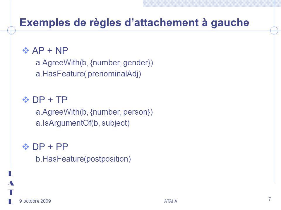 LATLLATL 9 octobre 2009 ATALA 7 Exemples de règles dattachement à gauche vAP + NP a.AgreeWith(b, {number, gender}) a.HasFeature( prenominalAdj) vDP +