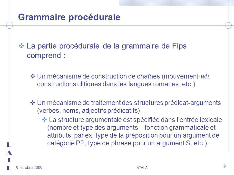 LATLLATL 9 octobre 2009 ATALA 9 Grammaire procédurale vLa partie procédurale de la grammaire de Fips comprend : vUn mécanisme de construction de chaîn
